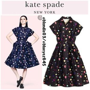 Kate Spade blue fit and flare shirtdress 10